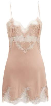 Carine Gilson Lace Trimmed Silk Slip Dress - Womens - Pink