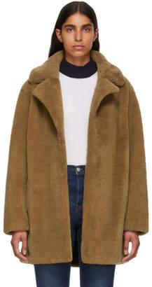 Yves Salomon Meteo Tan Curly Sheep Coat