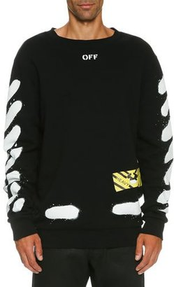 Off-White Spray-Pain Logo Sweatshirt, Black $535 thestylecure.com