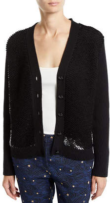 Escada Wool-Cashmere Sequined Button-Front Cardigan