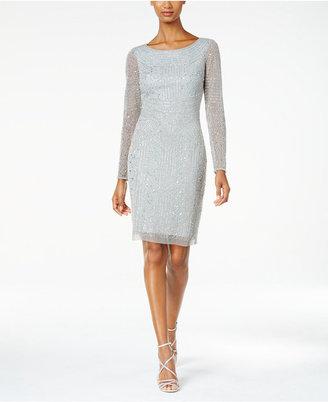 Adrianna Papell Beaded Long-Sleeve Sheath Dress $279 thestylecure.com