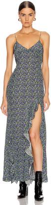 Les Rêveries Ruffle Long Cami Dress in Ditsy Purple Pansies | FWRD