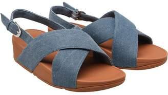 FitFlop Womens Lulu Cross Back Strap Sandals Blue Shimmer Denim