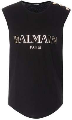 Balmain Sleeveless printed cotton top