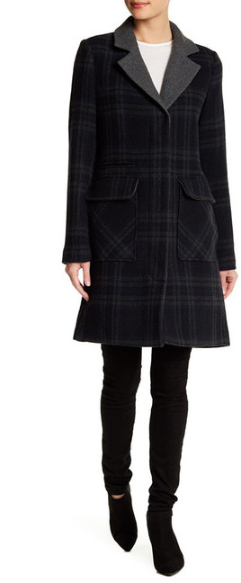 7 For All Mankind 7 For All Mankind Long Sleeve Wool Blend Plaid Coat