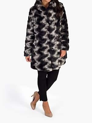 Chesca Faux Fur Reversible Coat, Black/Charcoal