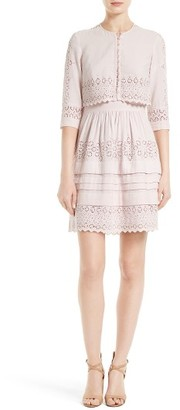 Women's Rebecca Taylor Adeline Eyelet Embroidered Popover Dress $495 thestylecure.com