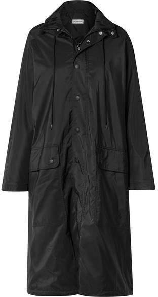 Opera Oversized Printed Reflective Shell Raincoat - Black