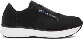 Prada Black Neoprene Slip-On Sneakers