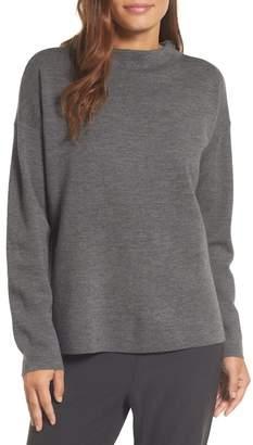 Eileen Fisher Mock Neck Box Wool Sweater