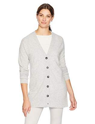 Lark & Ro Women's 100% Cashmere V-Neck Long Sleeve Cardigan