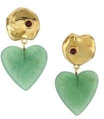 Lizzie Fortunato Venice 18K Goldplated Green Quartz& Garnet Drop Earrings
