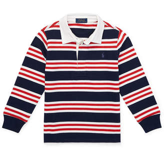 Ralph Lauren Childrenswear Long-Sleeve Striped Rugby Top, Size 2-4