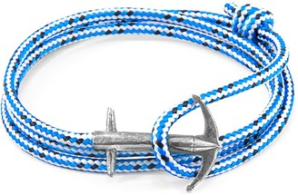 Anchor & Crew Blue Dash Admiral Anchor Silver & Rope Bracelet