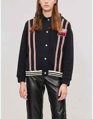 Sandro Bead-embellished contrast-striped cotton jacket