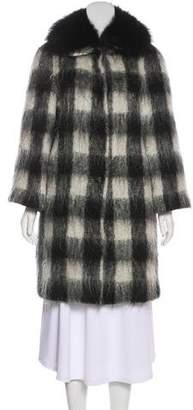Prada Mohair Fur-Trimmed Coat