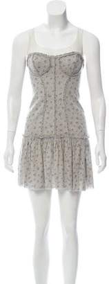Elizabeth and James Floral Mesh-Accented Dress