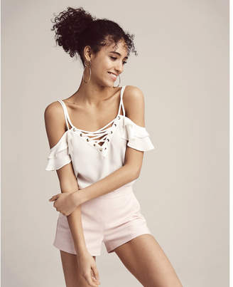 Express Lace-up Cold Shoulder Cami $39.90 thestylecure.com
