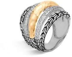 John Hardy Classic Chain Diamond, Hammered 18K Gold& Silver Ring