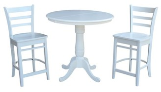 """INC International Concepts 36"""" Round Extension Dining Table 34.9""""H With 2 Emily Counterheight Stools - 3 Piece Set - White"""