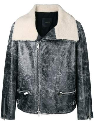 Undercover faux fur collared leather jacket