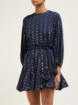 Rhode Resort Ella Metallic Heart Jacquard Cotton Dress - Womens - Navy Print