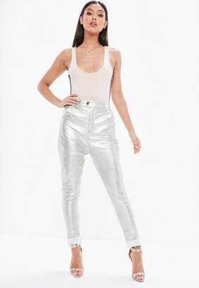 Missguided Silver Metallic Faux Leather Cigarette Pants