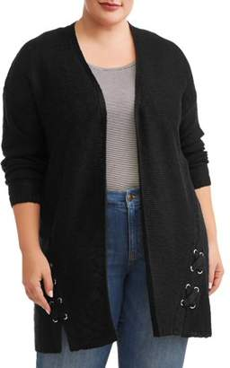 d1b0d1bd7df62 Terra   Sky Women s Plus Size Open Front Cardigan with Lace Up Grommets