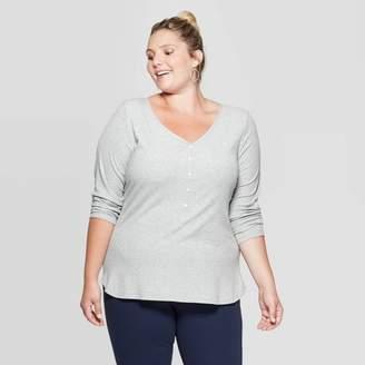 Ava & Viv Women's Plus Size Long Sleeve V-Neck Rib Knit Henley T-Shirt - Ava & VivTM