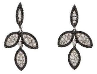 14K Diamond Leaf Drop Earrings