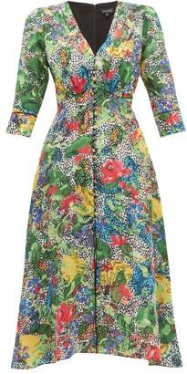 Saloni Eve Abstract Floral Print Silk Dress - Womens - Green Multi