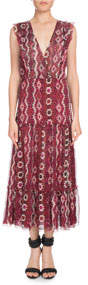Aztec-Print Sleeveless V-Neck Silk Crepon Midi Dress