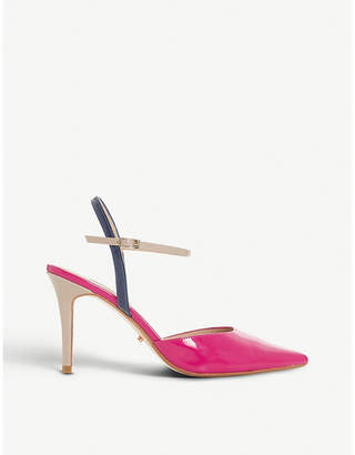 Dune Christy colour-blocked patent leather courts