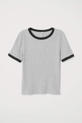 H&M Ribbed T-shirt - Gray