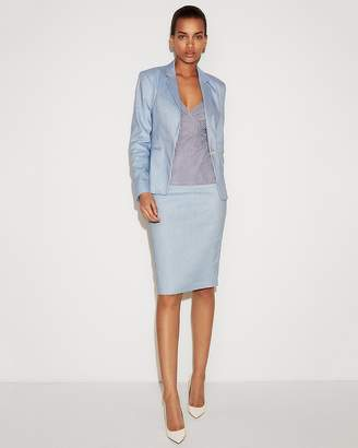 Express Marled Linen-Blend One Button Blazer