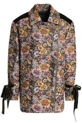 Mother of Pearl Velvet-Trimmed Floral-Design Double-Breasted Jacquard Jacket