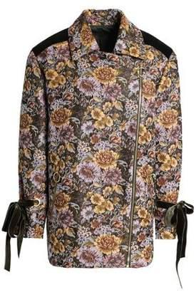 Mother of Pearl Velvet-trimmed Floral-design Double-breasted Jacquard Jacket