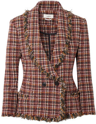 Etoile Isabel Marant Nicole Fringed Cotton-blend Tweed Jacket - Burgundy