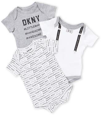 DKNY Newborn/Infant Boys) 3-Pack Logo Bodysuit