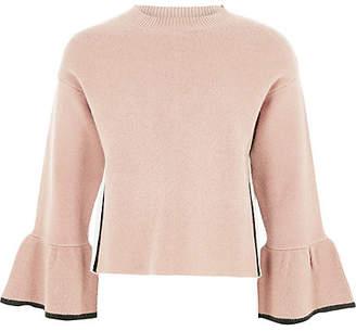 River Island Girls Pink knit bell sleeve jumper