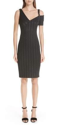 Yigal Azrouel Stretch Weave Stripe Cold Shoulder Dress