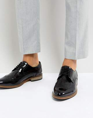 Asos Design Brogue Shoes In Black Polish Leather