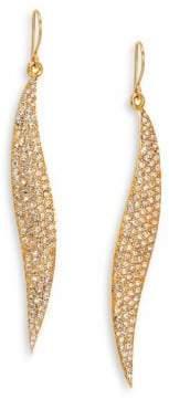 ABS by Allen Schwartz Pave Wave Drop Earrings/Goldtone