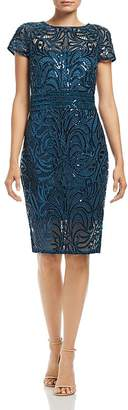 Tadashi Shoji Sequin-Embroidered Cap-Sleeve Dress
