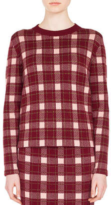 Akris Punto Crewneck Long-Sleeve Check Cashmere-Blend Sweater