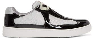 Prada Black Patent Leather and Mesh Sneakers