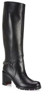 Christian Louboutin Christian Louboutin Napoleo Chain-Trim Leather Block-Heel Boots