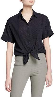 Rag & Bone Lenny Short-Sleeve Button-Down Tie-Hem Shirt
