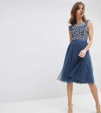 Needle & Thread Midi Dress With Embroidery And Tulle Skirt