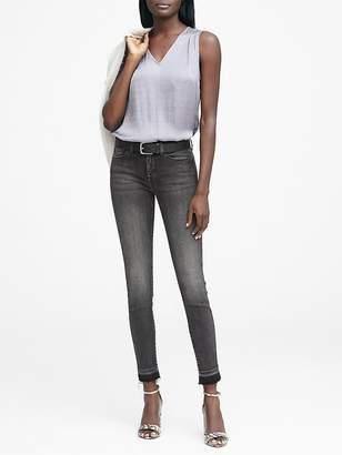 Banana Republic Skinny Black Jean with Frayed Hem